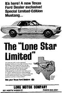 1967 Ford Mustang Lone Star Limited Bluebonnet Special
